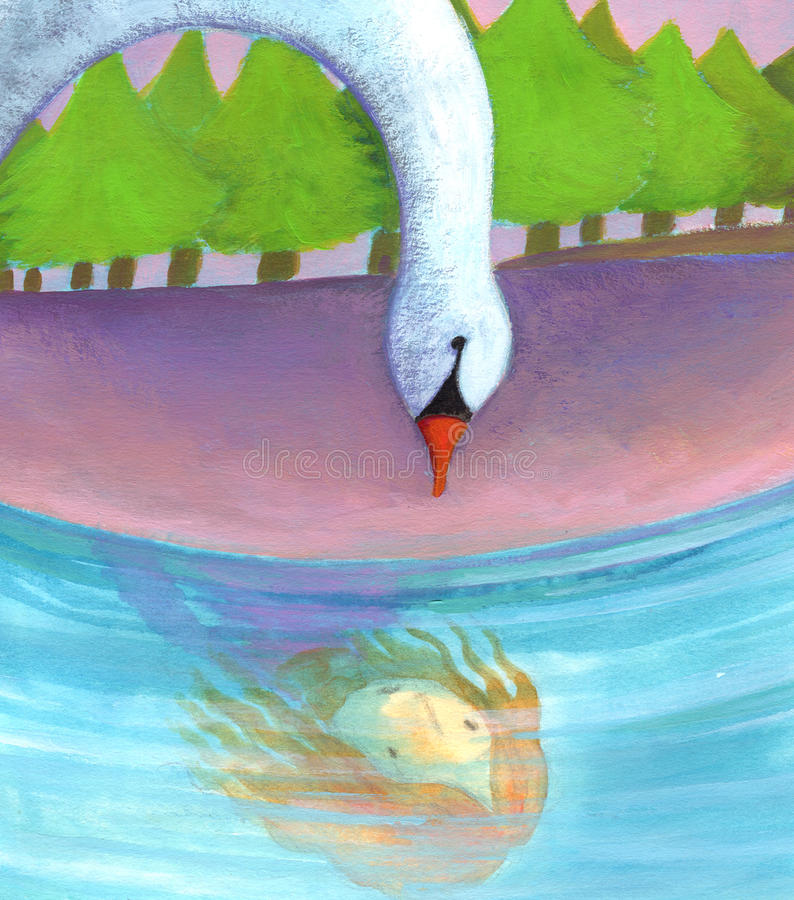 Swan transforms into girl royalty free stock image