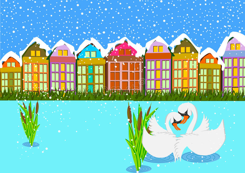 Swan on winter scene. Couple of swan on the winter lake background vector