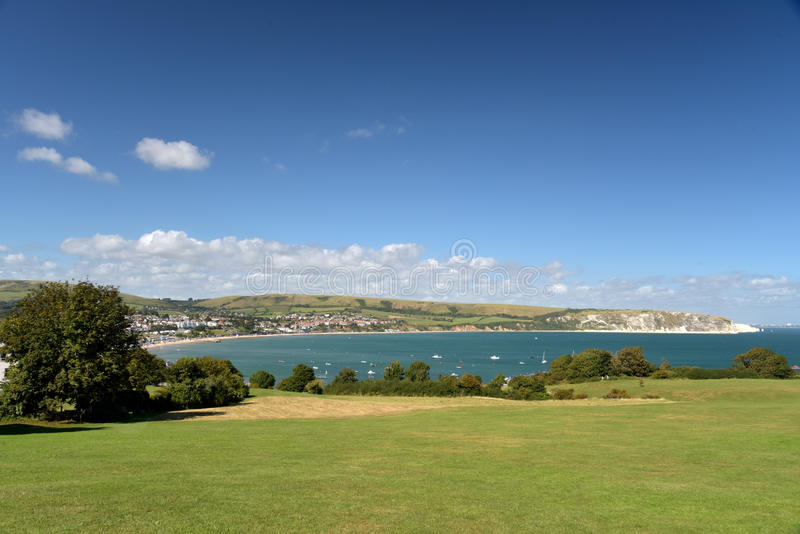 Swanage Bay seen from above Peveril Point. On Dorset coast royalty free stock photos