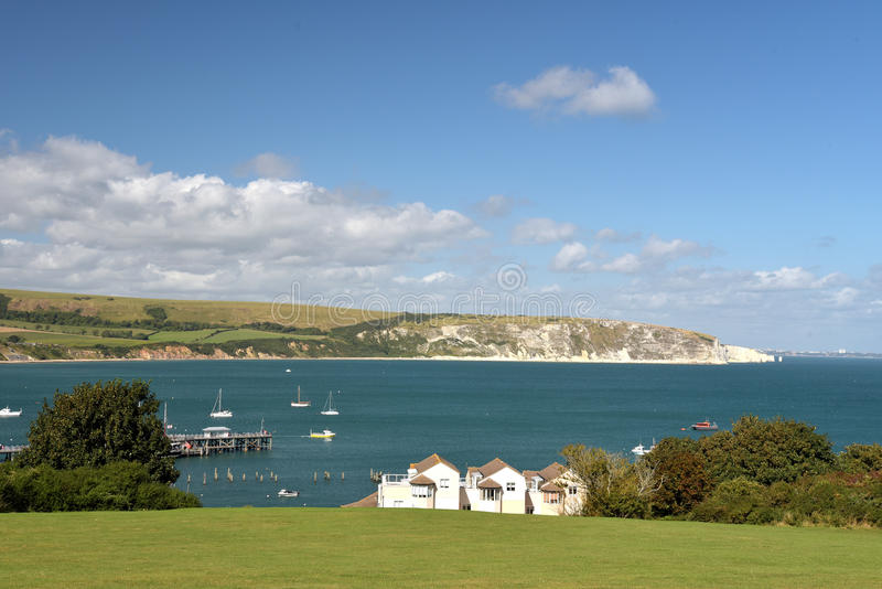 Swanage Bay seen from above Peveril Point. On Dorset coast stock photo
