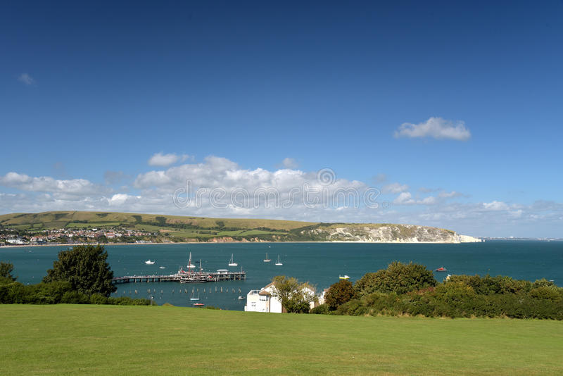 Swanage Bay seen from above Peveril Point. On Dorset coast stock image
