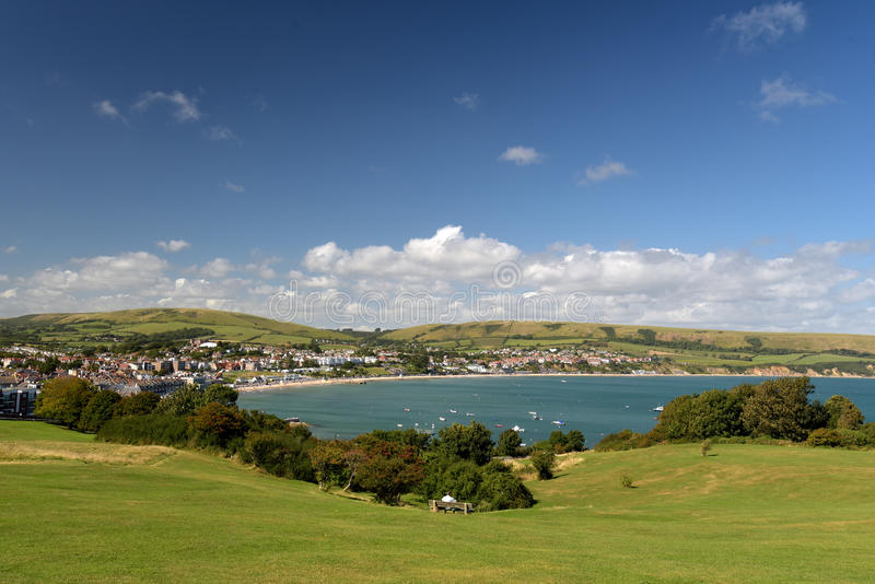 Swanage Bay seen from above Peveril Point. On Dorset coast royalty free stock images