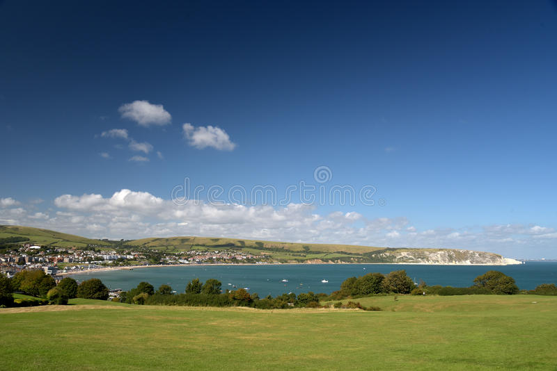 Swanage Bay seen from above Peveril Point. On Dorset coast royalty free stock photo