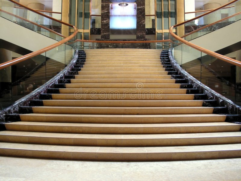 Swanky lobby with staircase stock image