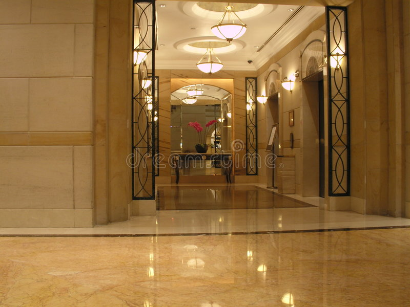 Swanky marble lobby royalty free stock images