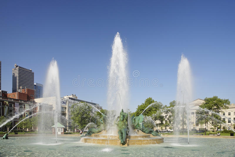 The Swann Memorial Fountain. Is located in the center of Logan Square in Philadelphia. The fountain was designed by Alexander Stirling Calder and architect stock image