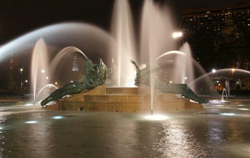 Swann memorial fountain in downtown Philadelphia at night stock image