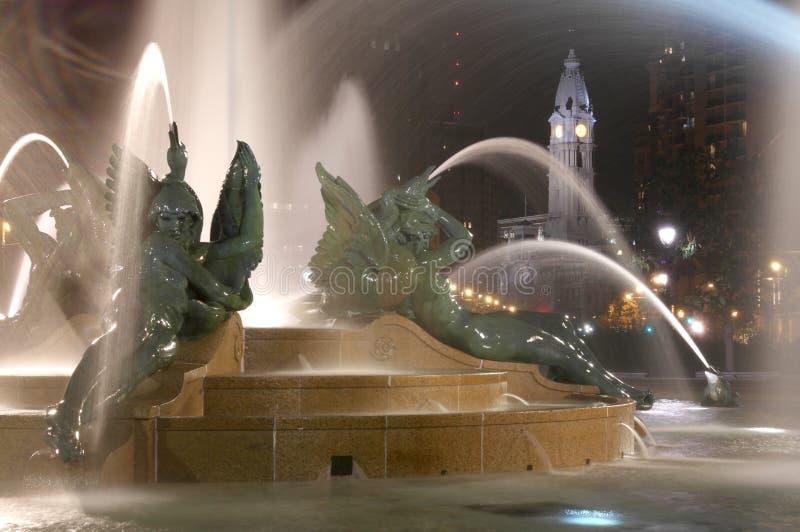 Swann memorial fountain downtown Philadelphia at night royalty free stock photo