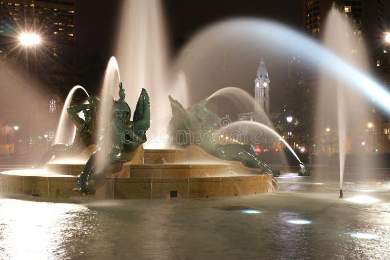 Swann memorial fountain in downtown Philadelphia at night stock photos