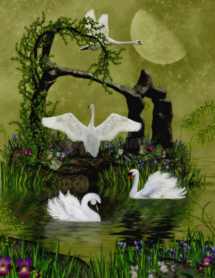 Download Swans stock illustration. Image of fantasy, digital, animal - 20173625