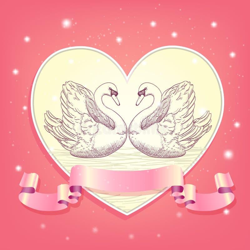 swans royaltyfri illustrationer
