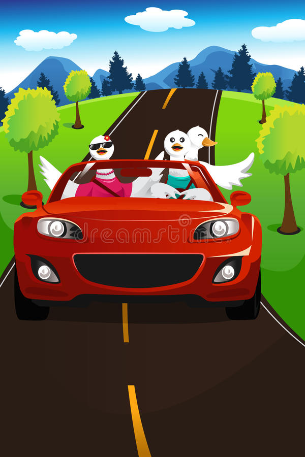Swans going on a road trip royalty free illustration