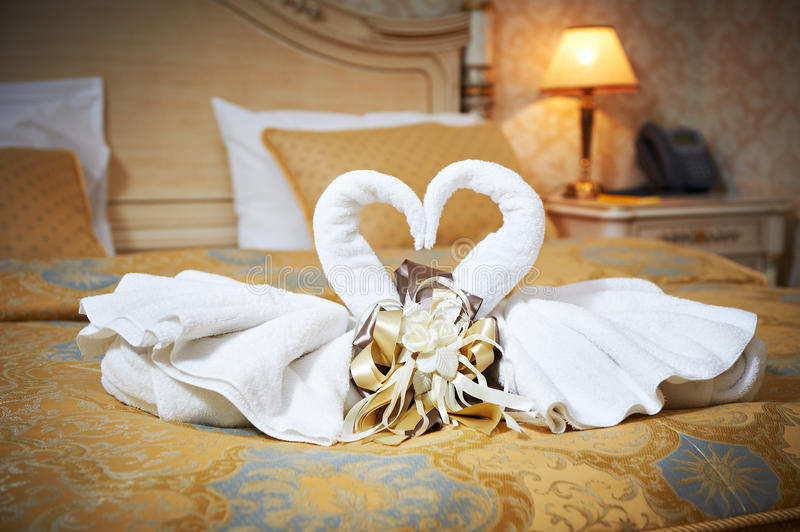 Swans Out Of Towels On The Bed Stock Image