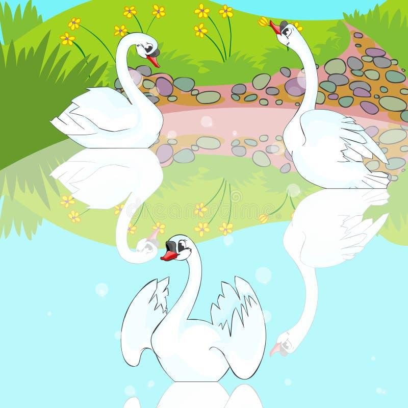 Free Swans Swim In Lake. Royalty Free Stock Image - 19240676