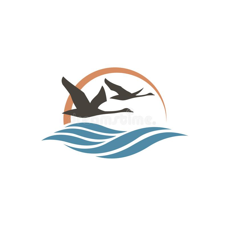 Swans and waves icon. Abstract icon with swans, sun and waves royalty free illustration