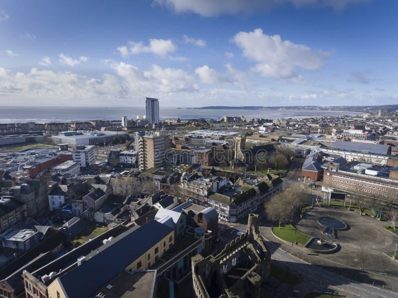 Swansea City e litoral foto de stock royalty free