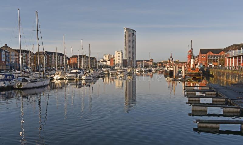 Swansea Marina budynek mieszkalny fotografia stock