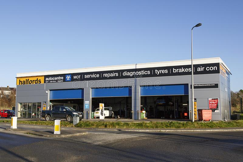 Halfords Auto-centre for MOT, service and other car related repairs. Swansea, UK: December 28, 2016: Halfords Auto-centre. Halfords Group plc is a British stock photo