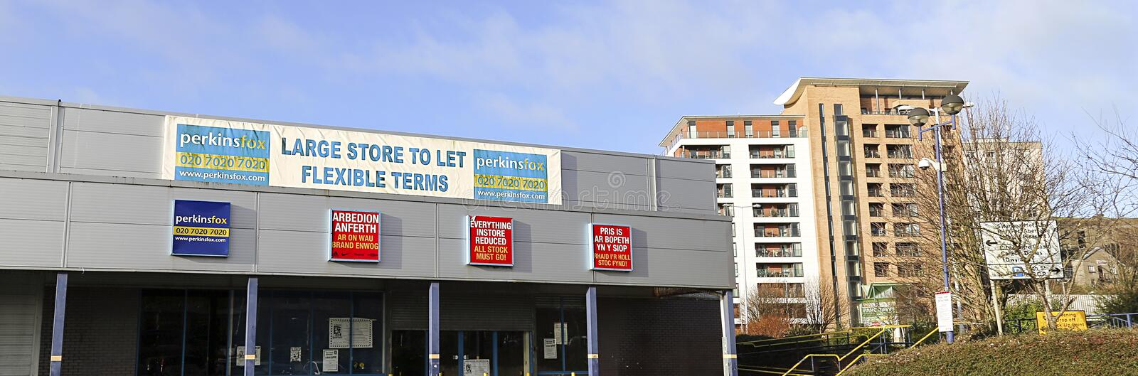 Empty retail units advertised for rental royalty free stock photos