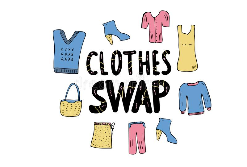 Swap hanwritten lettering. Vector concept design. Clothes Swap quote with doodle style decoration. Lettering for clothes, shoes and accessories exchange event stock illustration