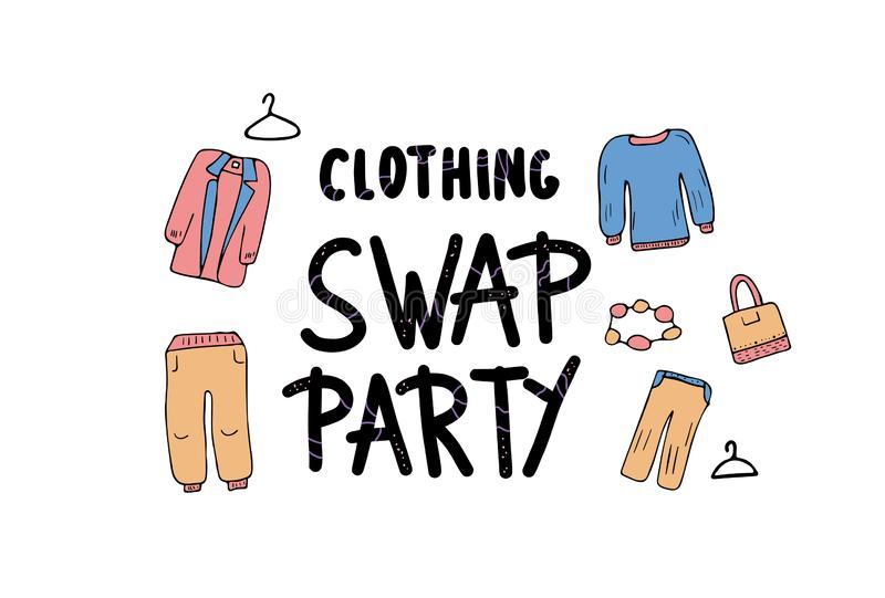 Swap hand drawn lettering. Vector concept design. Clothing Swap Party lettering with doodle style decoration. Quote for clothes exchange event. Handwritten vector illustration