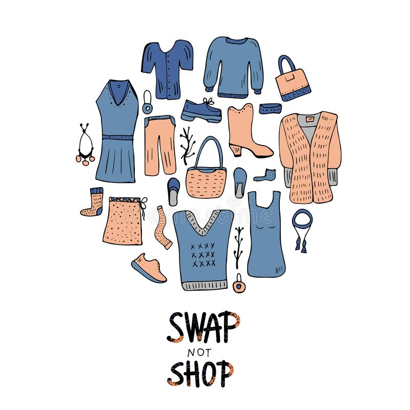 Swap hanwritten lettering. Vector concept design. Swap not shop lettering with doodle style round badge. Quote for clothes, shoes and accessories exchange event vector illustration