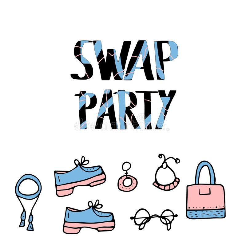 Swap hanwritten lettering. Vector concept design. Swap Party lettering with doodle style decoration. Quote for clothes, shoes and accessories exchange event vector illustration