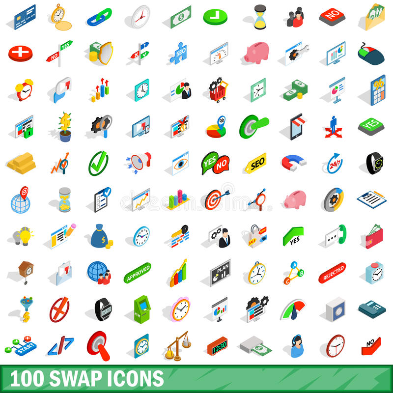 100 swap icons set, isometric 3d style vector illustration