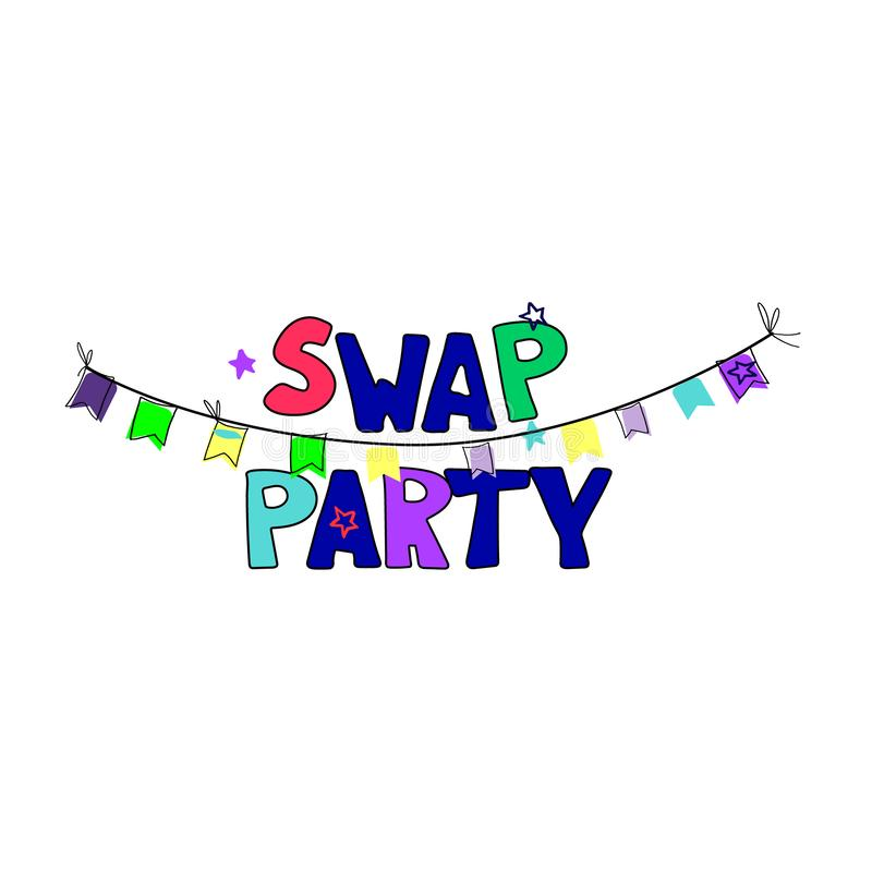 Swap party. Banner and invitation template. Hand drawn clothes and hand lettering, bright colors. Isolated on white background vector illustration