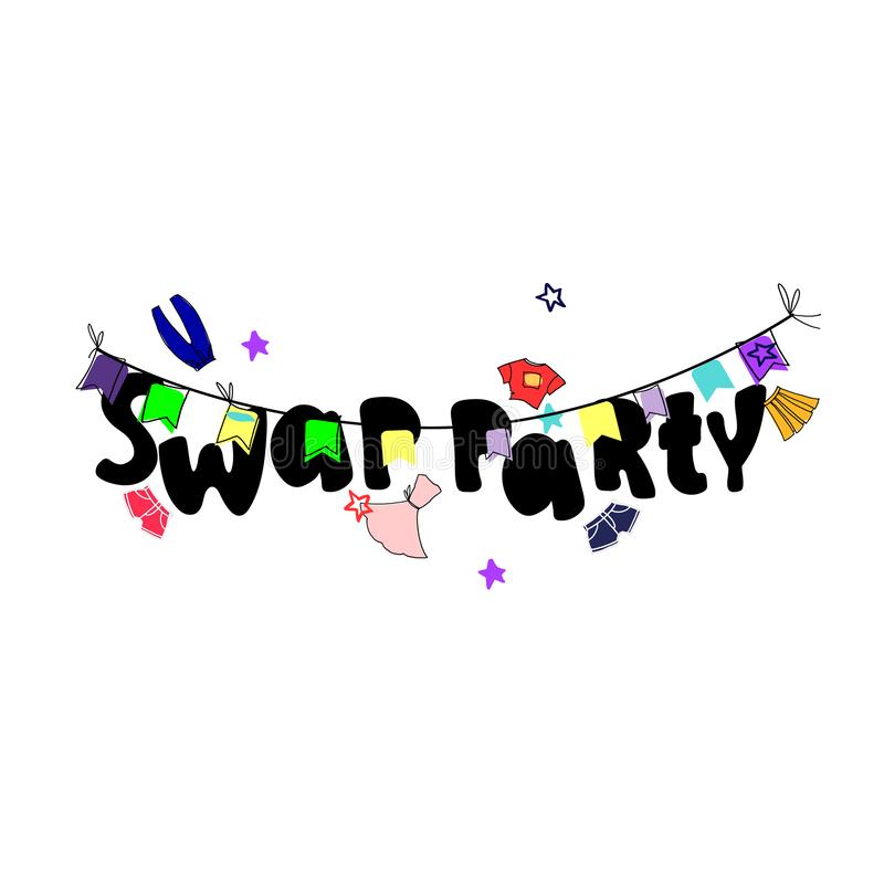 Swap party. Banner and invitation template. Hand drawn clothes and hand lettering, bright colors. Isolated on white background royalty free illustration