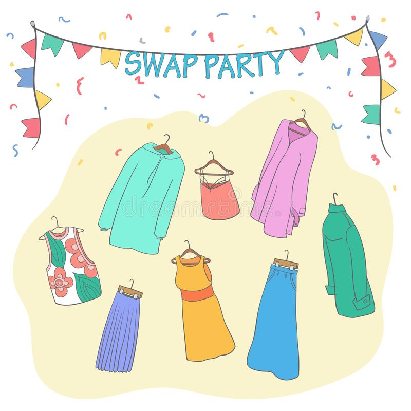 Swap party clothes. Garage sale. Second life. Swap party clothes. Swap party woman`s clothes on hangers. Vector cartoon style illustration.Garage sale. Second vector illustration