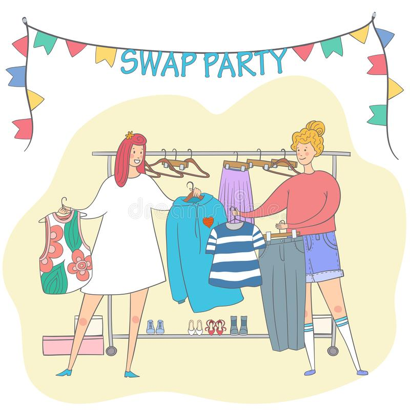 Swap party girls sell, buy and exchange clothes. Garage sale. Two young social and eco responsible girls at fashion swap party. Reduce and reuse concept. Eco stock illustration