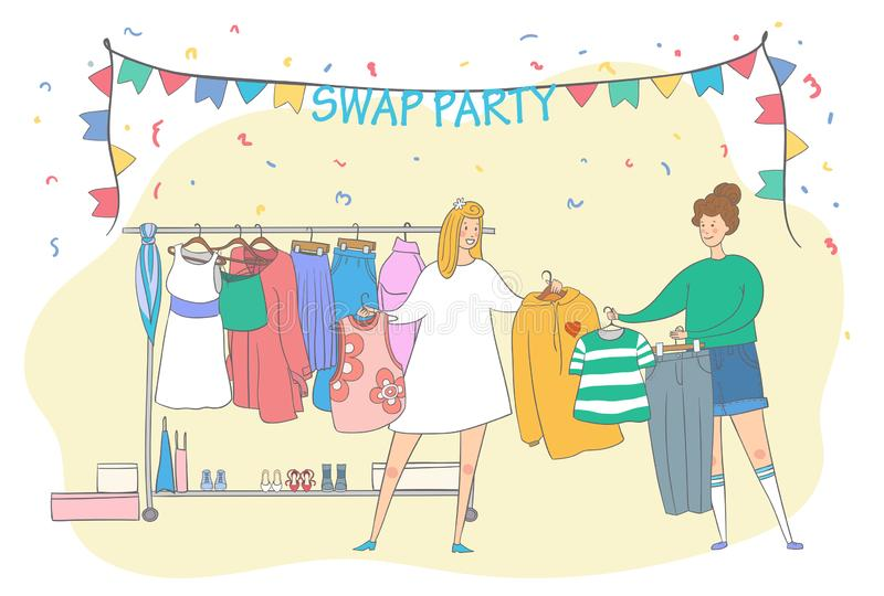 Swap party girls sell, buy and exchange clothes. Garage sale. Two young social and eco responsible girls at fashion swap party. Reduce and reuse concept royalty free illustration