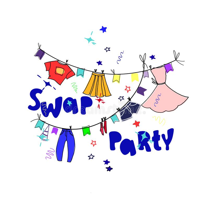Swap party. Illustration to the concept and invitation template. Hand drawn clothes and hand lettering, bright colors. Isolated on white background vector illustration