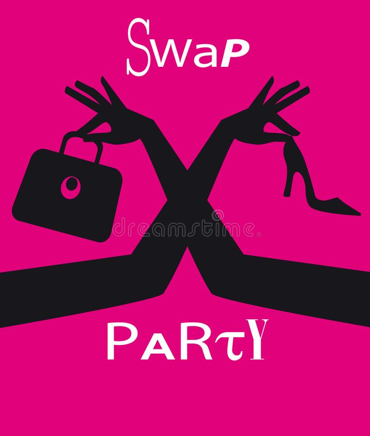 Swap clothing party invite. Swap party invitation or poster with female hands exchanging accessorizes, EPS 8 vector illustration vector illustration