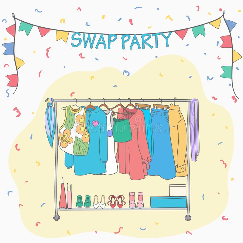 Swap party woman`s clothes on hangers. Woman`s Shoes. Clothes hanging on rack. Vector cartoon style illustration.Garage sale. Second life royalty free illustration