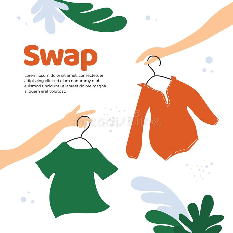Swap shop or party template. Vector illustration for swap shop or party, event of exchange old wardrobe for new. Two hands with clothes hangers. Exchange clothes stock illustration