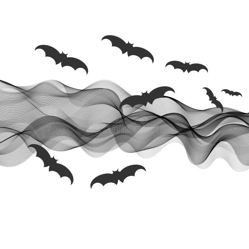 Halloween 2. Swarm of bats on black ribbon abstract background, halloween concept stock illustration
