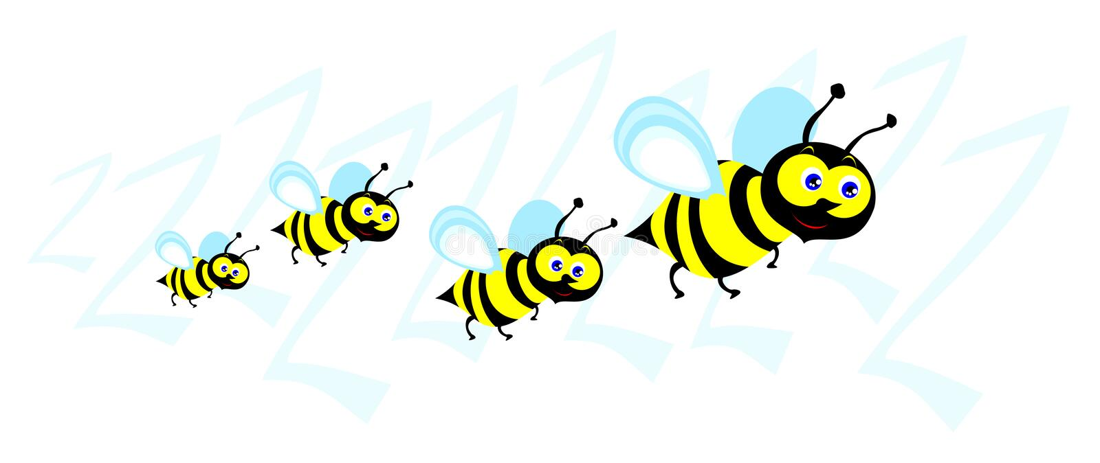 Swarm of bees. Funny illustration depicting a small swarm of bees in cartoon style stock illustration