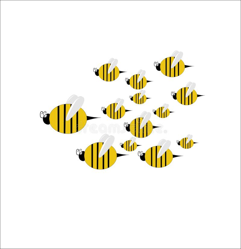 Swarm of bees on white stock illustration