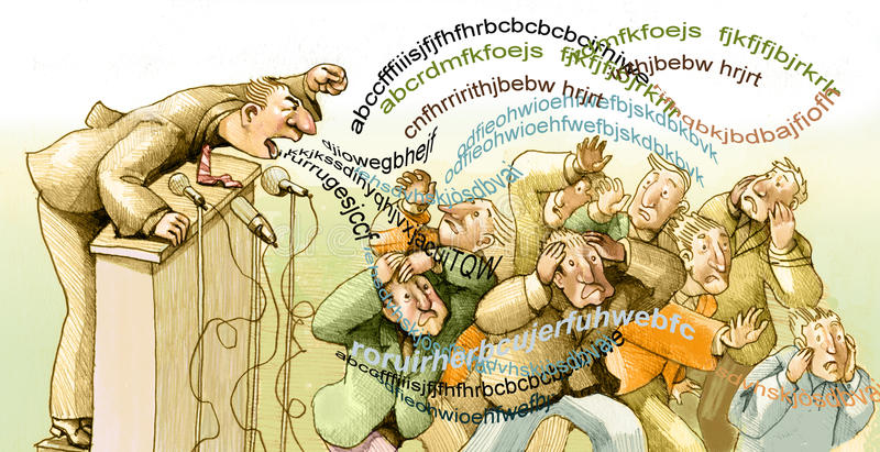 Swarm of words. A meeting where the speaker invests words of the public making escape vector illustration