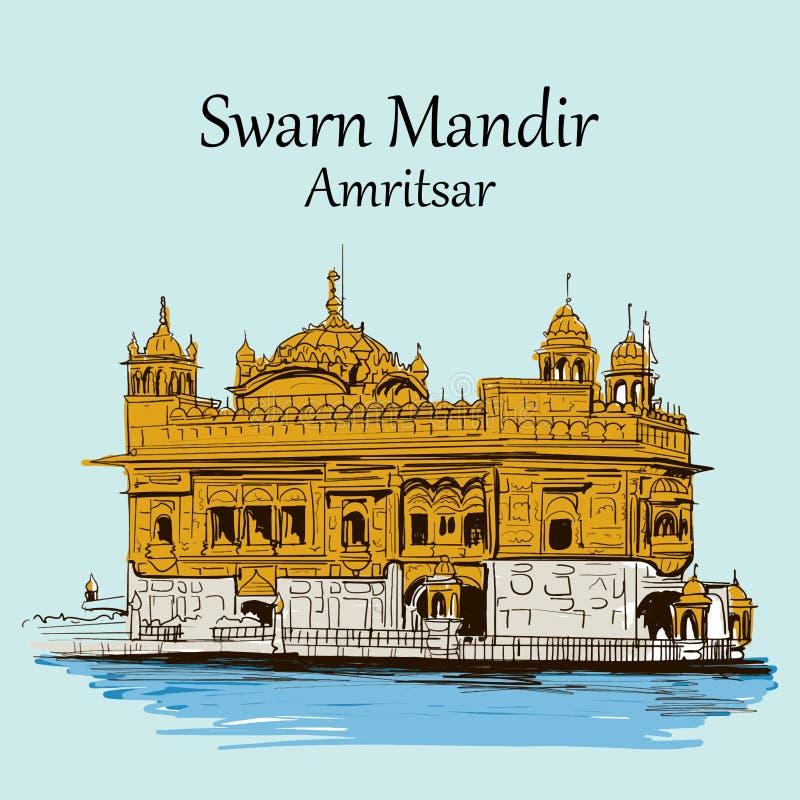 Free Swarn Mandir Or Golden Temple Amritsar Punjab India . Happy Guru Purab Vector Illustration Sikh Man Worship Stock Photography - 134358702