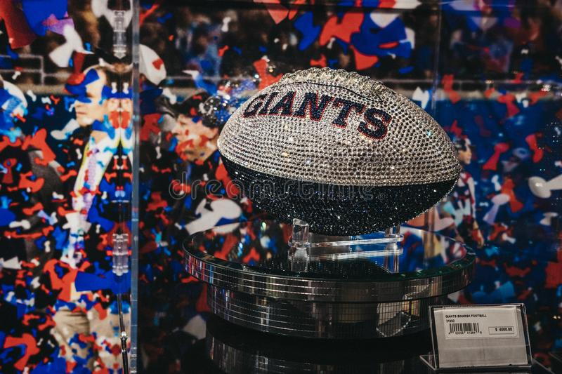 Swarovski Giants ball on sale in NFL Experience in Times Square, New York, USA. royalty free stock photos