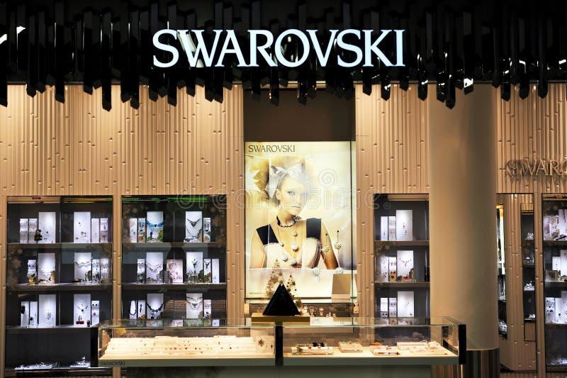 Front Elevation Of Jewellery Showroom : Swarovski jewelry store illuminated editorial stock photo