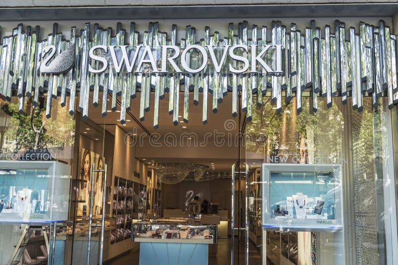 Swarovski shoppar, Barcelona royaltyfri bild