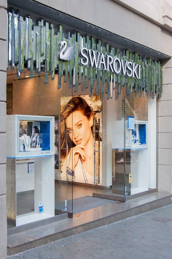 Swarovskidetailhandel in Barcelona, Spanje royalty-vrije stock afbeelding
