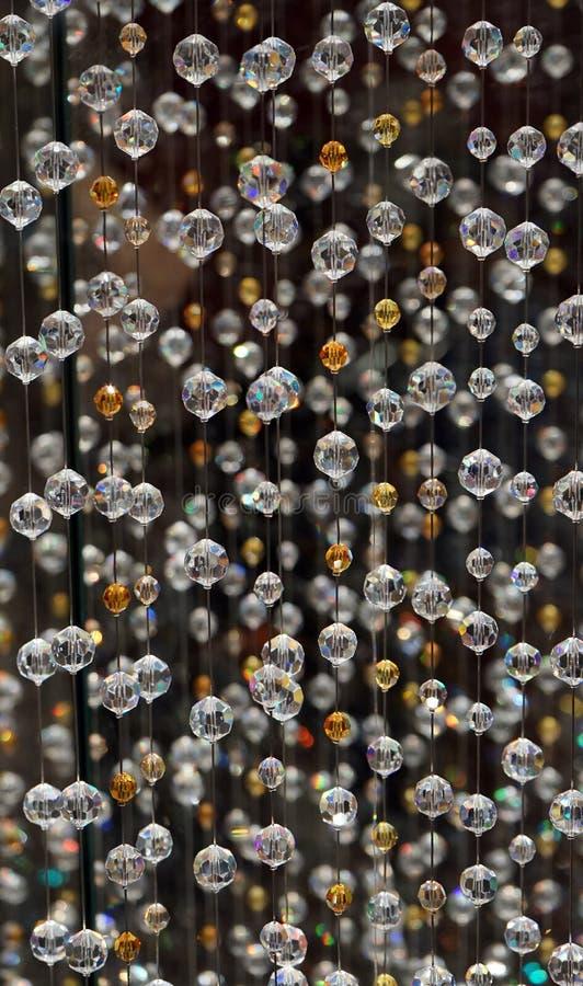 Swarovskikristal gepareld gordijn Het patroon van parelgordijnen, textuurachtergrond royalty-vrije stock foto