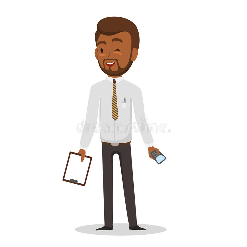Swarthy businessman. on white background.. Vector illustration. EPS 10 royalty free stock images