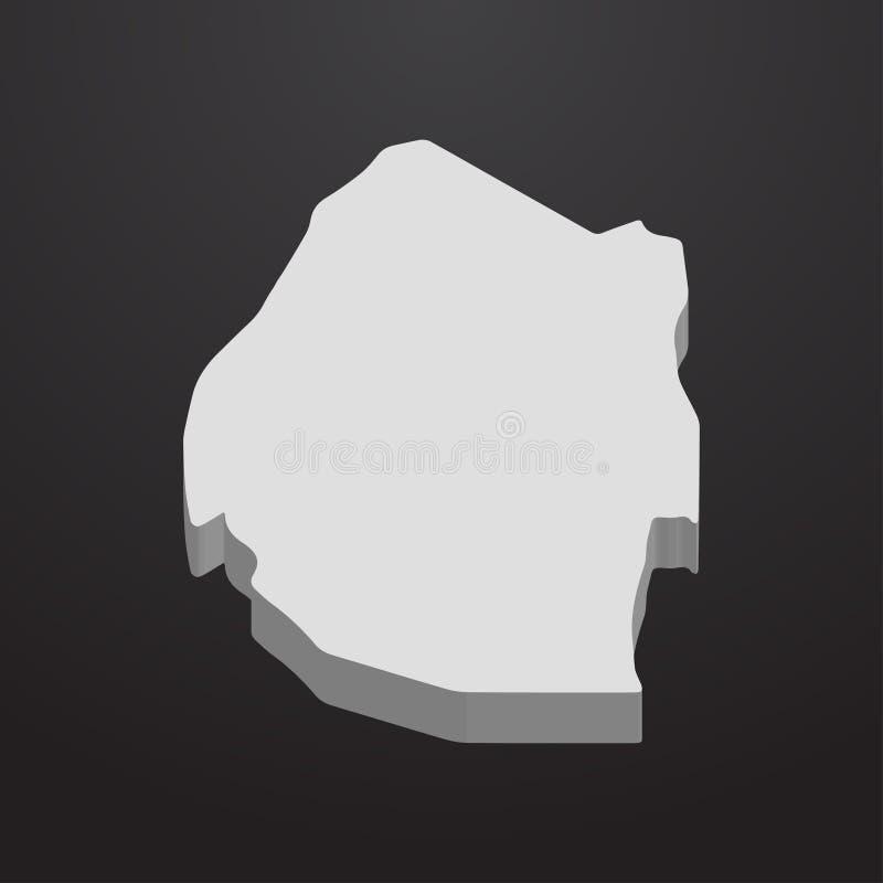 Swasiland-Karte im Grau auf einem schwarzen Hintergrund 3d lizenzfreie abbildung