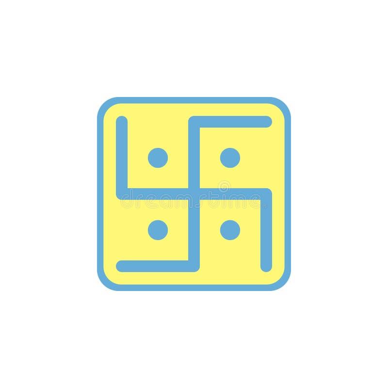 swastik hinduism ikona Element diwali wakacyjna ikona dla mobilnych pojęcia i sieci apps Barwiona swastik hinduism ikona może być ilustracja wektor
